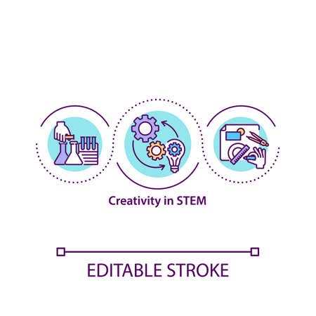Creativity in STEM concept icon. Science, technology, engineering, and math. Creative education idea thin line illustration. Vector isolated outline RGB color drawing. Editable stroke.