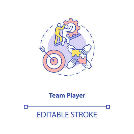 Team player concept icon. App developer skills. Easy getting with new teammates. Friendly crew members idea thin line illustration. Vector isolated outline RGB color drawing. Editable stroke