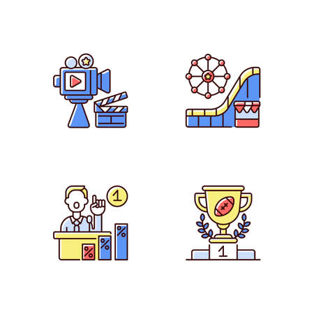 United States RGB color icons set. Cinema industry. Amusement and theme park. Primaries. Sport achievements. Film production companies. Roller coasters. Isolated vector illustrations