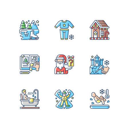 Festive season RGB color icons set. Secret Santa. Pajama night. Ice skating. DIY scrapbooking. Snow angel. Christmas holiday. Pajama parrty. Polar bear plunge. Isolated vector illustrations