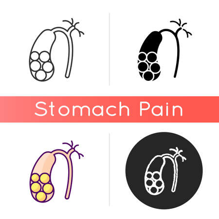 Gallstones icon. Cholelithiasis. Hardened bile deposits. Solid material in gallbladder. Digestive discomfort. Abdominal pain. Linear black and RGB color styles. Isolated vector illustrations