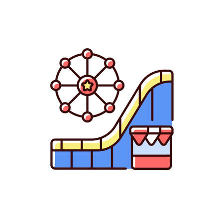 Amusement and theme park RGB color icon. Vacation time. Events for entertainment purposes. Roller coasters. Exciting rides and games. Family-friendly attractions. Isolated vector illustration Vectores