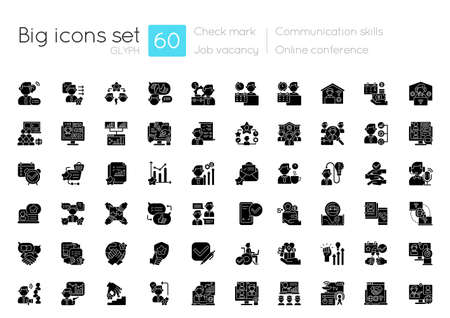 Communication skills black glyph icons set on white space. Career achievement. Online conference. Teamwork management. Job vacancy. Silhouette symbols. Vector isolated illustration