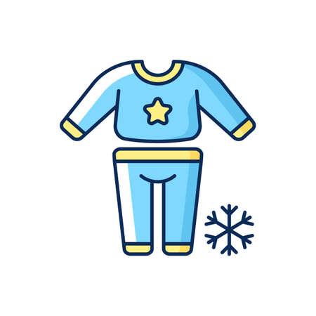 Pajama day RGB color icon. Festive slumber party for children. Christmas time sleepover. Bedtime nightwear. Winter season recreation. New Year sleepwear. Isolated vector illustration Vector Illustration