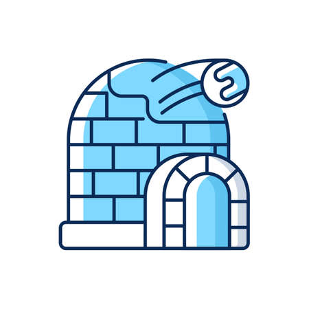 Snow fort RGB color icon. Ice construction. Arctic igloo, northern icehouse. Winter season building. Frozen fortress. Christmastide shelter. North Pole. Isolated vector illustration Иллюстрация