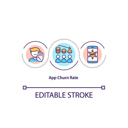 App churn rate concept icon. Percentage of users uninstall application. Rate of attrition idea thin line illustration. Vector isolated outline RGB color drawing. Editable stroke. 向量圖像