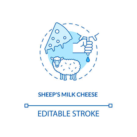 Sheep milk cheese turquoise concept icon. Farm production. Lactose product. Ranch cattle milking. Dairy industry idea thin line illustration. Vector isolated outline RGB color drawing. Editable stroke