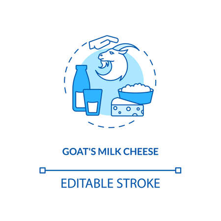 Goat milk cheese turquoise concept icon. Manufacturing lactose product. Farm market. Dairy industry production idea thin line illustration. Vector isolated outline RGB color drawing. Editable stroke Иллюстрация