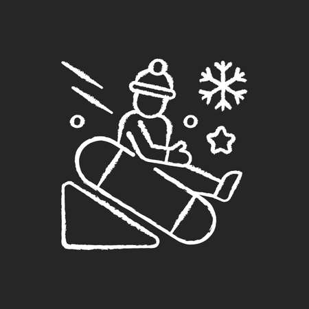Snow tubing chalk white icon on black background. Fun children ride downhill. Extreme sledging. Winter activity. Festive season recreation for kids. Isolated vector chalkboard illustration Illustration