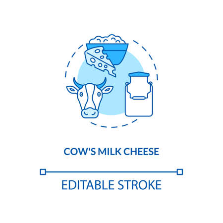 Cow milk cheese turquoise production concept icon. Manufacturing lactose product. Organic food. Dairy industry idea thin line illustration. Vector isolated outline RGB color drawing. Editable stroke