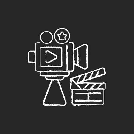 Cinema industry chalk white icon on black background. Motion picture industry. Filmmaking. Film production companies. Box office revenue. Arts sector. Isolated vector chalkboard illustration