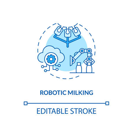 Robotic milking turquoise concept icon. Automated cow product manufacture. Factory equipment. Dairy industry idea thin line illustration. Vector isolated outline RGB color drawing. Editable stroke