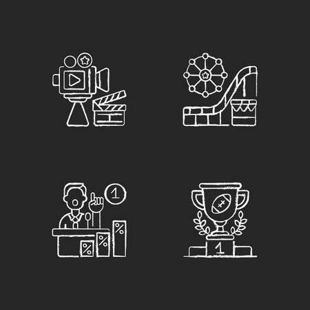United States chalk white icons set on black background. Cinema industry. Amusement and theme park. Primaries. Sport achievements. Filmmaking. Isolated vector chalkboard illustrations