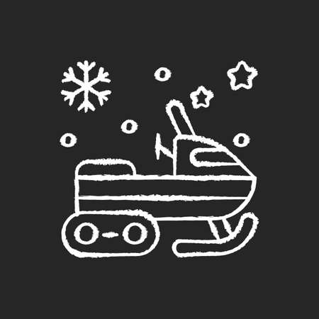 Snowmobile chalk white icon on black background. Motor sled. Snow scooter. Snowmachine ride. Winter recreation extreme activity. Isolated vector chalkboard illustration