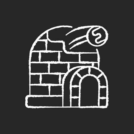 Snow fort chalk white icon on black background. Ice construction. Arctic igloo, icehouse. Winter season building. Frozen fortress. Christmastide shelter. Isolated vector chalkboard illustration Иллюстрация