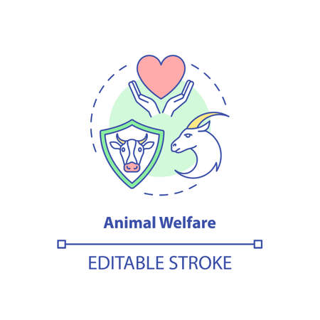 Animal welfare concept icon. Ranch livestock health. Veterinary care. Cow, goat wellbeing. Farm cattle idea thin line illustration. Vector isolated outline RGB color drawing. Editable stroke Vecteurs