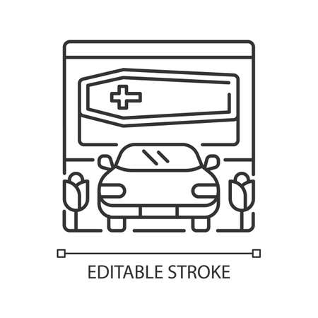 Drive through funeral home linear icon. Bury coffin. Ritual transportation. Rest in peace. Thin line customizable illustration. Contour symbol. Vector isolated outline drawing. Editable stroke