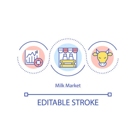 Milk market concept icon. Dairy cattle idea thin line illustration. Milk prices monitoring. Farming households. Dairy commodities. Vector isolated outline RGB color drawing. Editable stroke