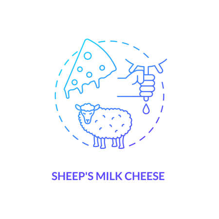 Sheep milk cheese blue gradient concept icon. Farm production. Lactose product. Ranch cattle milking. Dairy industry idea thin line illustration. Vector isolated outline RGB color drawing