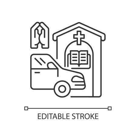 Drive through prayer booth linear icon. Car near small church. Chapel services for driver. Thin line customizable illustration. Contour symbol. Vector isolated outline drawing. Editable stroke Çizim
