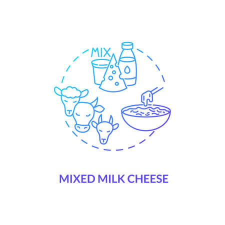 Mixed milk cheese blue gradient concept icon. Organic farm food with lactose. Goat, sheep, milk product. Dairy industry idea thin line illustration. Vector isolated outline RGB color drawing