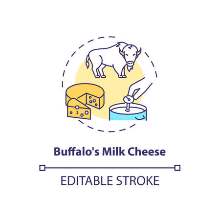 Buffalo milk cheese concept icon. Mozzarella product. Organic farm food with lactose. Dairy industry idea thin line illustration. Vector isolated outline RGB color drawing. Editable stroke Иллюстрация
