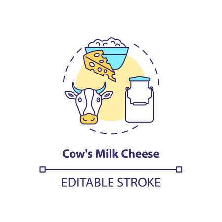 Cow milk cheese production concept icon. Manufacturing lactose product. Organic farm food. Dairy industry idea thin line illustration. Vector isolated outline RGB color drawing. Editable stroke