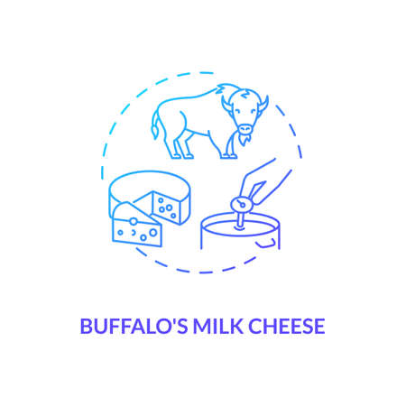 Buffalo milk cheese blue gradient concept icon. Mozzarella product. Organic farm food with lactose. Dairy industry idea thin line illustration. Vector isolated outline RGB color drawing