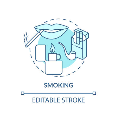 Smoking concept icon. Insurance cost factors. Bad habbit increases cost of medical care. Big money for treatment idea thin line illustration. Vector isolated outline RGB color drawing. Editable stroke Illusztráció
