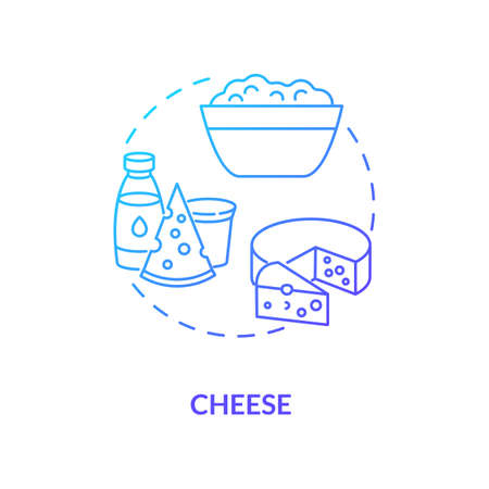Cheese production blue gradient concept icon. Soft cow milk product. Lactose food. Homemade cream. Dairy industry idea thin line illustration. Vector isolated outline RGB color drawing
