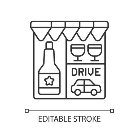 Drive through liquor store linear icon. Alcohol and spirits. Alcoholic drinks in shop. Thin line customizable illustration. Contour symbol. Vector isolated outline drawing. Editable stroke