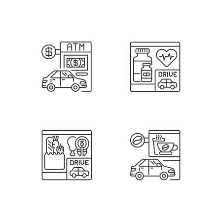 Car in drive in linear icons set. ATM terminal. Bank service. Pharmacy store. Grocery, coffee shop. Customizable thin line contour symbols. Isolated vector outline illustrations. Editable stroke