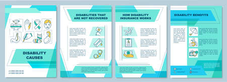 Disability causes brochure template. How disability insurance works. Flyer, booklet, leaflet print, cover design with linear icons. Vector layouts for magazines, annual reports, advertising posters