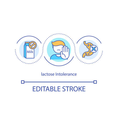 Lactose intolerance concept icon. Drinking dairy products idea thin line illustration. Digestive disorders. Abdominal cramps. Food allergen. Vector isolated outline RGB color drawing. Editable stroke