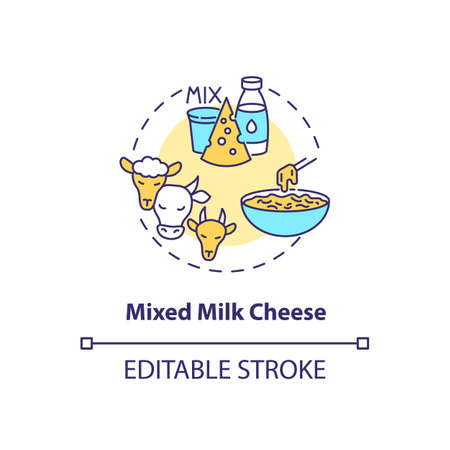 Mixed milk cheese concept icon. Organic farm food with lactose. Goat, sheep, milk product. Dairy industry idea thin line illustration. Vector isolated outline RGB color drawing. Editable stroke Иллюстрация