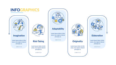 Creative thinking skills vector infographic template. Adaptability presentation design elements. Data visualization with 5 steps. Process timeline chart. Workflow layout with linear icons