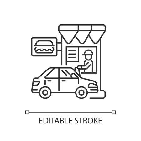 Drive through restaurant linear icon. Fast food cafe with car lane. Takeout burger. Thin line customizable illustration. Contour symbol. Vector isolated outline drawing. Editable stroke