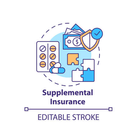 Supplemental insurance concept icon. Disability insurance types. Different money compensation plans idea thin line illustration. Vector isolated outline RGB color drawing. Editable stroke