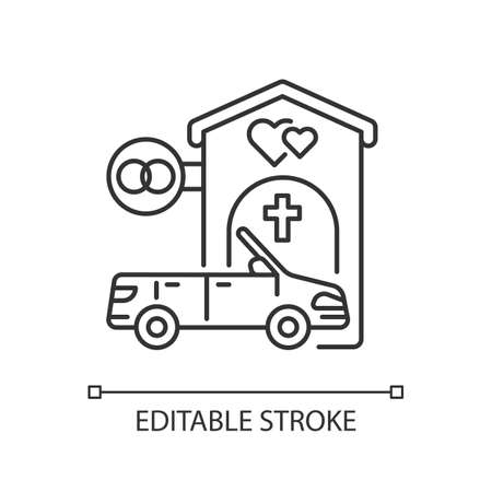 Drive through marriage chapel linear icon. Small church for wedding. Car for newlyweds. Thin line customizable illustration. Contour symbol. Vector isolated outline drawing. Editable stroke