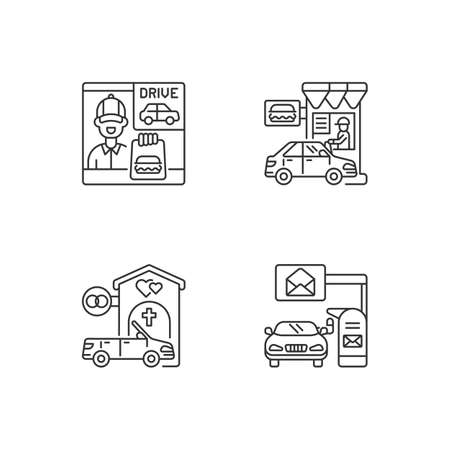 Car in drive thru lane linear icons set. Fast food restaurant window. Convenience mailbox for driver. Customizable thin line contour symbols. Isolated vector outline illustrations. Editable stroke