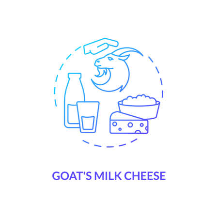 Goat milk cheese blue gradient concept icon. Manufacturing lactose product. Farm market. Dairy industry production idea thin line illustration. Vector isolated outline RGB color drawing