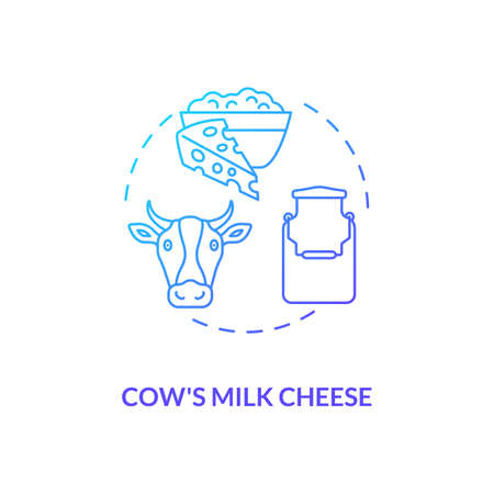 Cow milk cheese production blue gradient concept icon. Manufacturing lactose product. Organic farm food. Dairy industry idea thin line illustration. Vector isolated outline RGB color drawing Иллюстрация