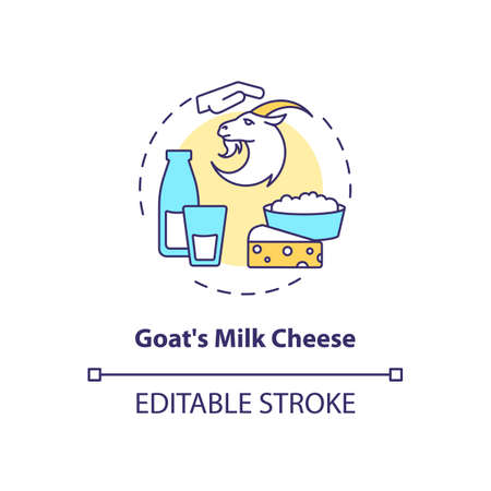 Goat milk cheese concept icon. Manufacturing lactose product. Farm market. Dairy industry production idea thin line illustration. Vector isolated outline RGB color drawing. Editable stroke