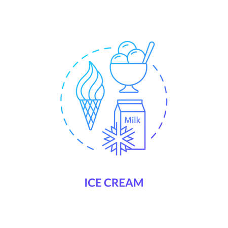 Ice cream blue gradient concept icon. Frozen yogurt. Sundae scoop. Gelato for summer refreshment. Dairy industry idea thin line illustration. Vector isolated outline RGB color drawing