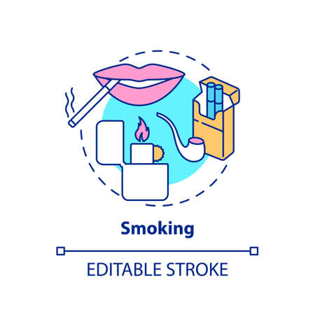 Smoking concept icon. Insurance cost factors. Bad habbit increases price of medicine. Bigger cost of treatment idea thin line illustration. Vector isolated outline RGB color drawing. Editable stroke