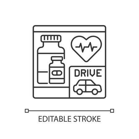 Drive through pharmacy linear icon. Express drugstore. Medication store with transport lane. Thin line customizable illustration. Contour symbol. Vector isolated outline drawing. Editable stroke