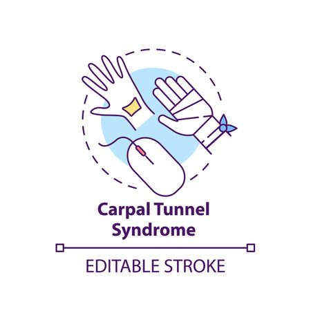 Carpal tunnel syndrome concept icon. Occupational sickness. Health issues because of everyday office life idea thin line illustration. Vector isolated outline RGB color drawing. Editable stroke