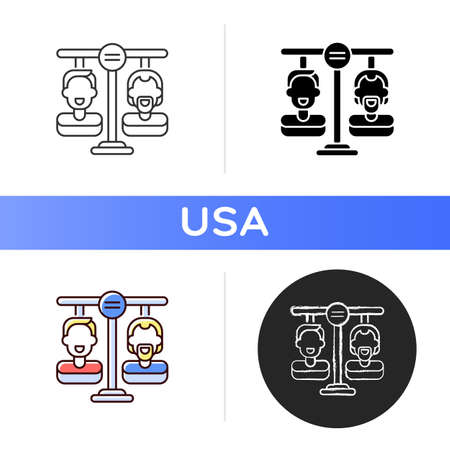 Equality land icon. American dream. Freedom opportunity. Democracy. Born free. Same rights, responsibilities and protections. Linear black and RGB color styles. Isolated vector illustrations