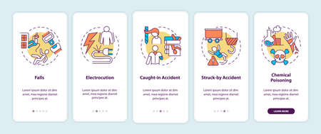 Work related injuries onboarding mobile app page screen with concepts. Falls from high places walkthrough 5 steps graphic instructions. UI vector template with RGB color illustrations