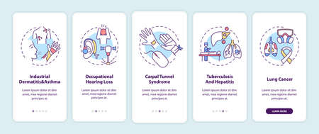 Occupational sickness onboarding mobile app page screen with concepts. Industrial dermatitis asthma walkthrough 5 steps graphic instructions. UI vector template with RGB color illustrations